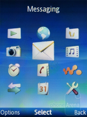 The home and main menu screens of the Sony Ericsson Spiro - Sony Ericsson Spiro Review