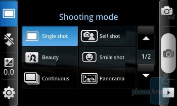 Camera interface of the Samsung Epic 4G - Samsung Epic 4G vs Apple iPhone 4 vs Motorola DROID X - the camera comparison