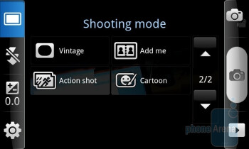 Camera interface of the Samsung Epic 4G - Samsung Epic 4G vs Apple iPhone 4 vs Motorola DROID X - the camera comparison