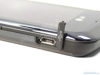 To the left edge, we've got the microUSB port and skinny sized volume rocker - LG Encore Review