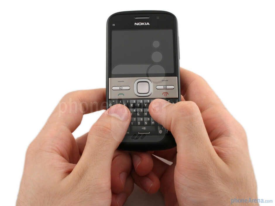 The Nokia E5 provides a solid feel, decentweighting, curved edges that feel comfortable to hold, and all in arelatively slim-line device - Nokia E5 Review