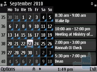 Calendar - The Nokia E5 runs Symbian S60 v3 - Nokia E5 Review