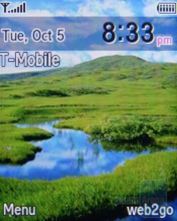 Home screen - Interface of the Samsung T249 - Samsung T249 Review