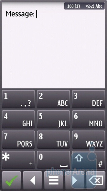 The on-screen keyboard is numeric in portrait and QWERTY in landscape - Nokia N8 Review