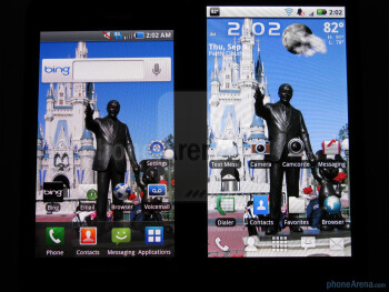 "The Samsung Fascinate (left, down) uses a 4"" Super AMOLED screen,while the Motorola DROID X (right, up) comes with a larger 4.3"" TFT LCD screen - Samsung Fascinate vs Motorola DROID X"
