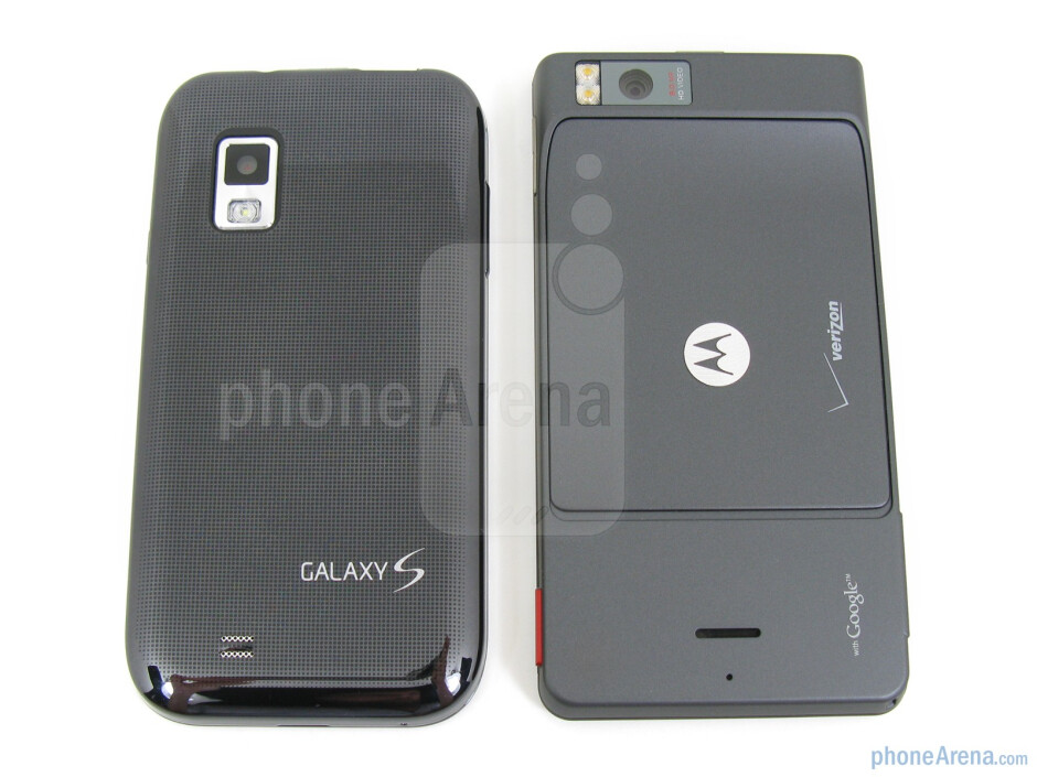 Samsung Fascinate (left, down)next to the Motorola DROID X (right, up) - Samsung Fascinate vs Motorola DROID X