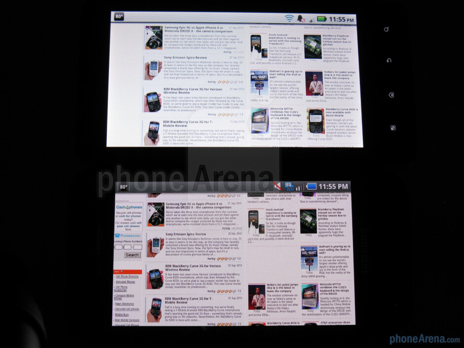 """The Samsung Fascinate (left, down) uses a 4"""" Super AMOLED screen,while the Motorola DROID X (right, up) comes with a larger 4.3"""" TFT LCDscreen - Samsung Fascinate vs Motorola DROID X"""