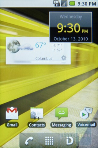 Home screen - The Samsung Transform currently runs bone stock Android 2.1 - Samsung Transform Review