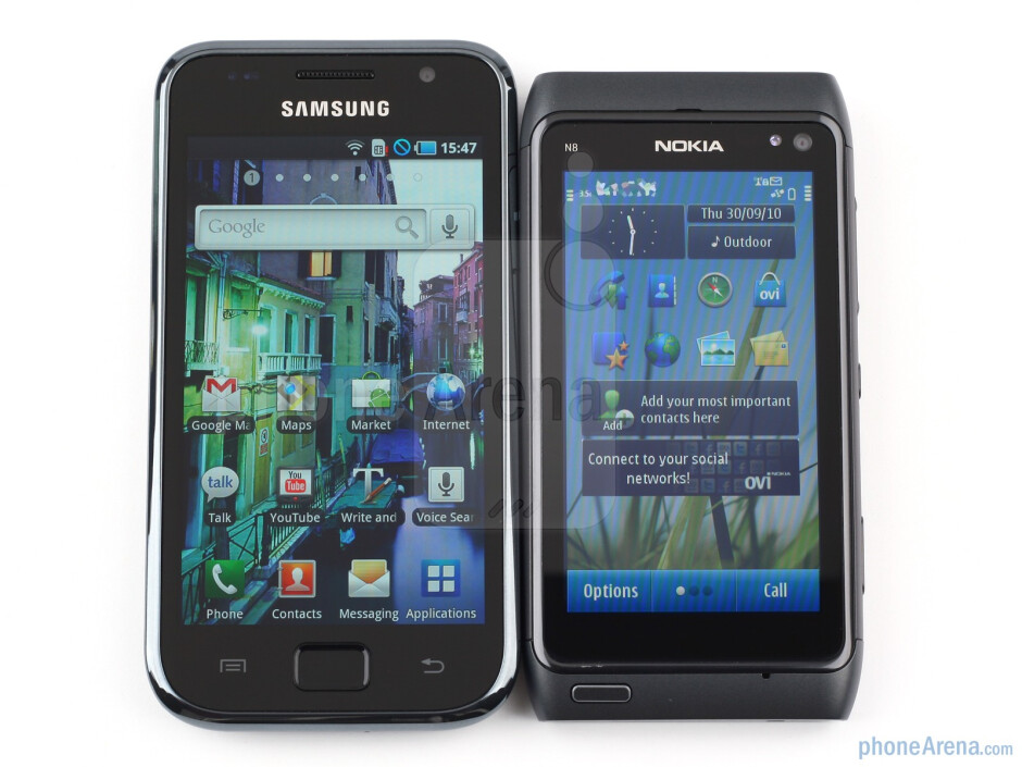 The Nokia N8 and the Samsung Galaxy S are both touchscreen-only devices - Nokia N8 vs Samsung Galaxy S