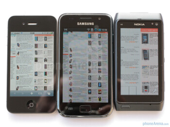 From left to right - Apple iPhone 4, Samsung Galaxy S, Nokia N8 - Nokia N8 vs Samsung Galaxy S