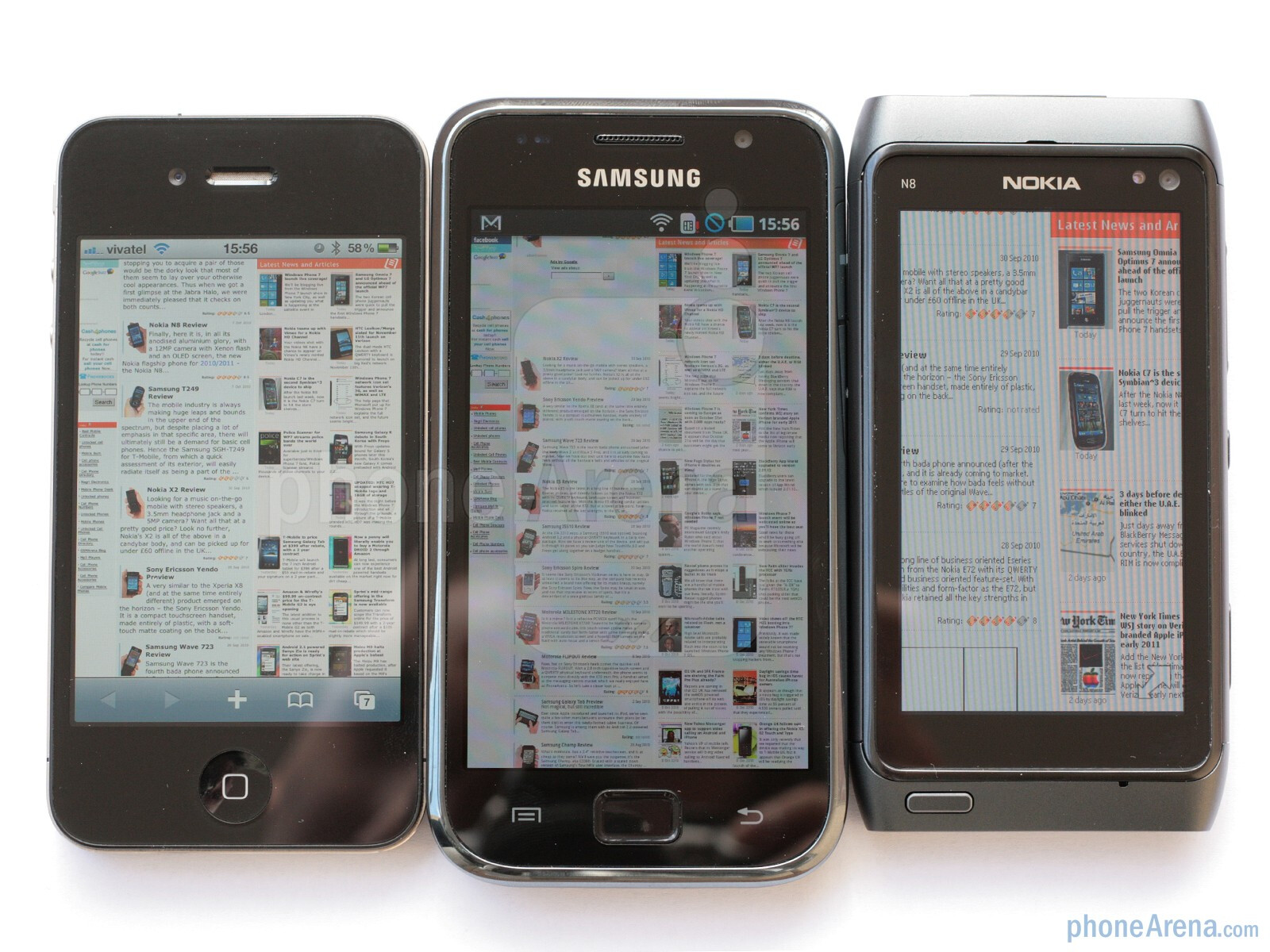 77c7992f6bffaf From left to right - Apple iPhone 4, Samsung Galaxy S, Nokia N8 -