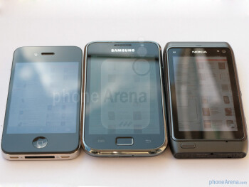 From left to right - Apple iPhone 4, Samsung Galaxy S, Nokia N8 - Nokia N8 vs Apple iPhone 4