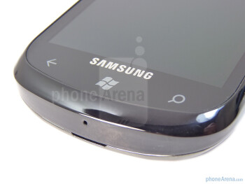 "Capacitive buttons below the display - The Samsung Focus boasts  a 4"" Super AMOLED capacitive touchscreen - Samsung Focus Review"