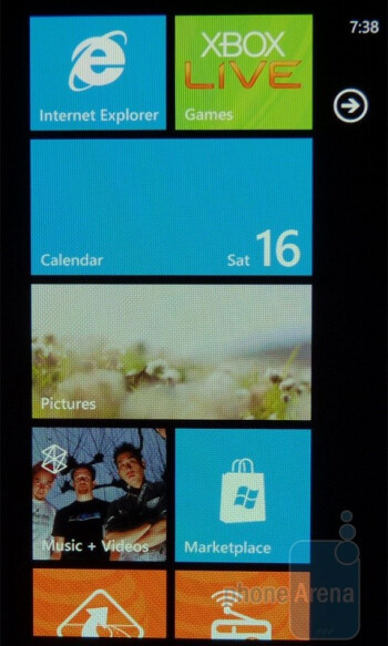The Windows Phone 7 homescreen consists of various square and rectangular tiles (Live Tiles) - Main menu on the Samsung Focus - Samsung Focus Review