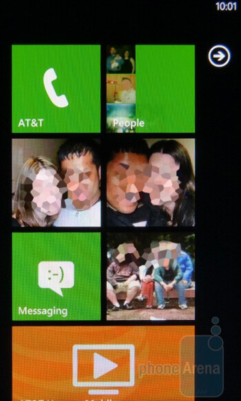 The Windows Phone 7 homescreen consists of various square and rectangular tiles (Live Tiles) - HTC Surround Review