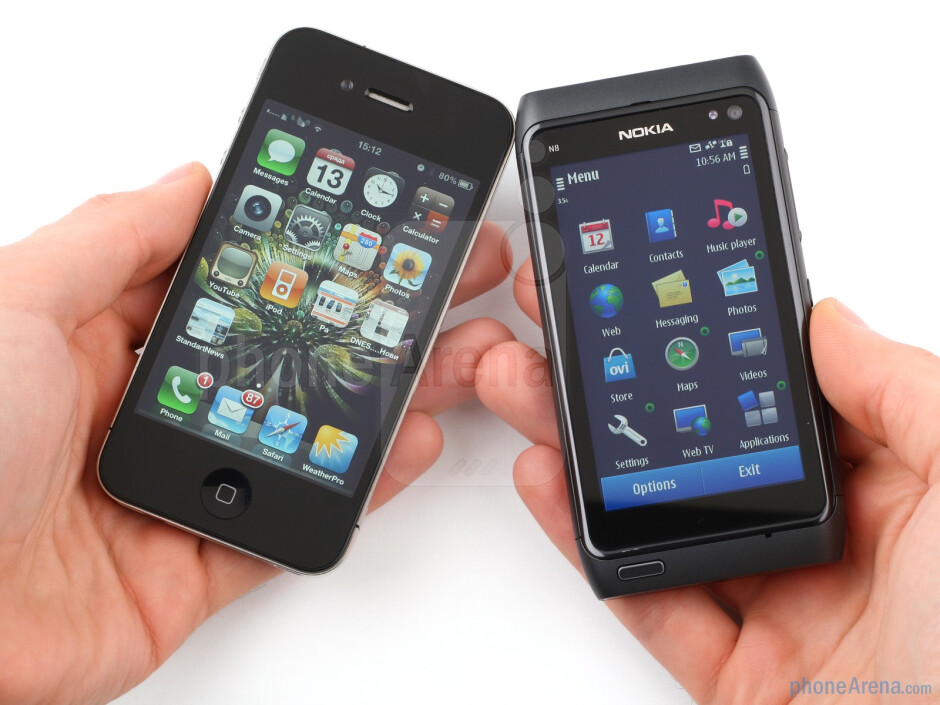 Designwise, it is the steel and glass of the iPhone 4 vs the aluminum of the Nokia N8 - Nokia N8 vs Apple iPhone 4