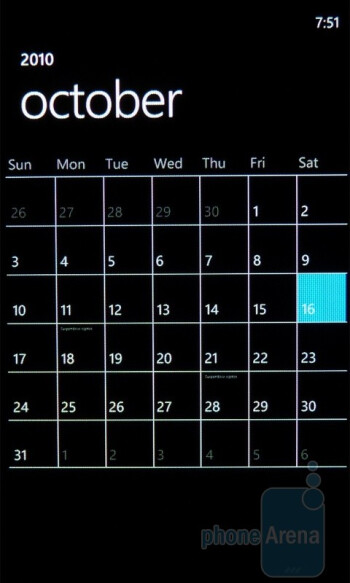 The Calendar app of the Samsung Focus - Samsung Focus Review
