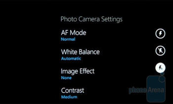 The camera interface of the Samsung Omnia 7 - Samsung Omnia 7 Review