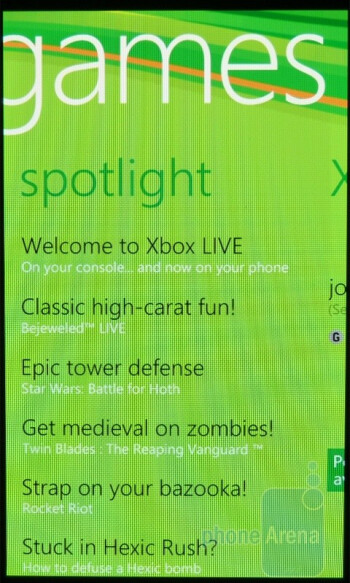 "With the ""Games"" hub, you are able to sign in with your XBOX Live account - Samsung Focus Review"