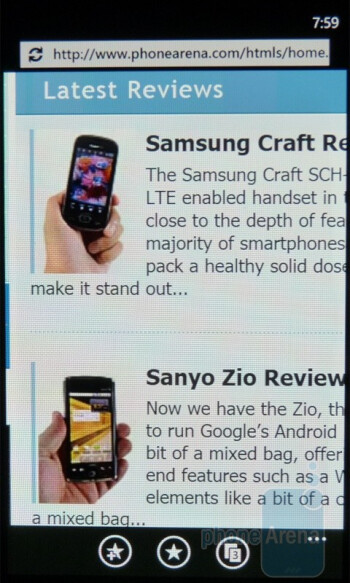Internet  Explorer on the Samsung Focus offers one of the most satisfying experiences to date - Google Nexus S vs Samsung Focus
