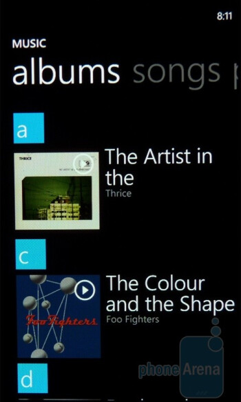 Music player of the Samsung Focus - Samsung Focus vs Samsung Captivate
