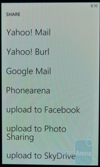 """There is a share function - The """"Pictures"""" hub - Samsung Focus Review"""