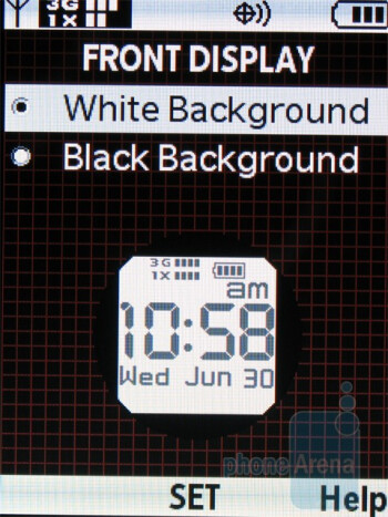 The external clock on the front display can also be inverted between black and white - Casio G'zOne Ravine Review