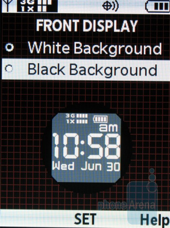 The external clock on the front display can also be inverted between black and white - Casio G�zOne Ravine Review