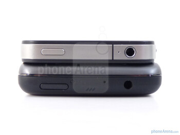 3.5mm jacks and power buttons are on the top edges of both devices - HTC Surround vs Apple iPhone 4