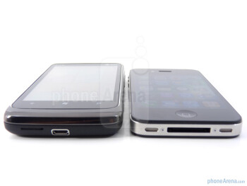 The HTC Surround (left) and the Apple iPhone 4 (right) - HTC Surround vs Apple iPhone 4
