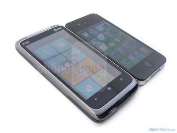 Both high-end smartphones exhibit slick industrial designs - HTC Surround vs Apple iPhone 4
