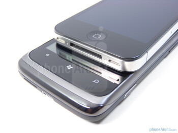 Physical buttons on the HTC Surround (bottom) and the Apple iPhone 4 (top) - HTC Surround vs Apple iPhone 4