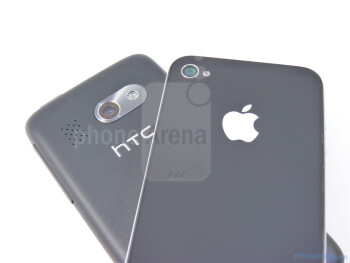 In the rear, you can expect to find both their 5-megapixel auto-focus cameras  - HTC Surround vs Apple iPhone 4