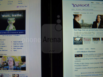 The Apple iPhone 4 (right) produces stunning picture clarity even with the smallest of text - HTC Surround vs Apple iPhone 4