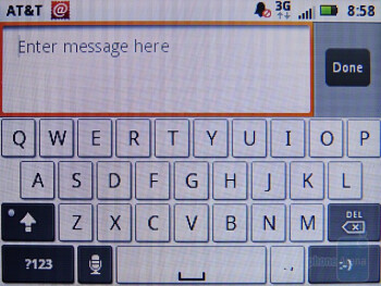 The on-screen QWERTY keyboard of the Motorola FLIPOUT - Motorola FLIPOUT for AT&T Review