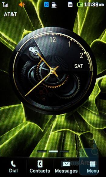 The homescreen interface of the Pantech Laser - Pantech Laser Review