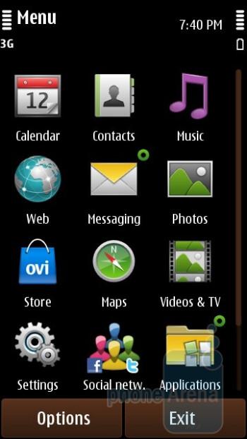 Main menu - Nokia C7 Review