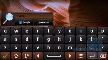 Text entry on the Nokia C7 is done on the standard Symbian^3 keyboard - Nokia C7 Review