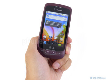 The LG Optimus T exhibits high quality with the the all around soft touch coating and faux-pas chrome bezel - LG Optimus T Review