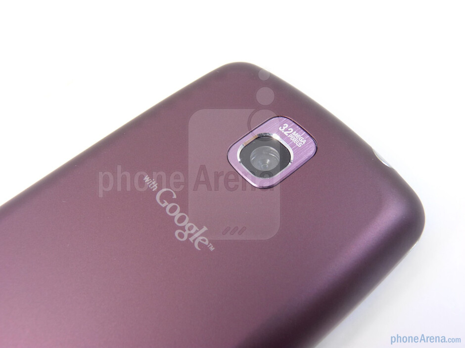 The rear hosts the 3.2-megapixel auto-focus camera - LG Optimus T Review