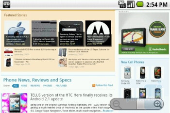 The web browser of the LG Optimus T - LG Optimus T Review