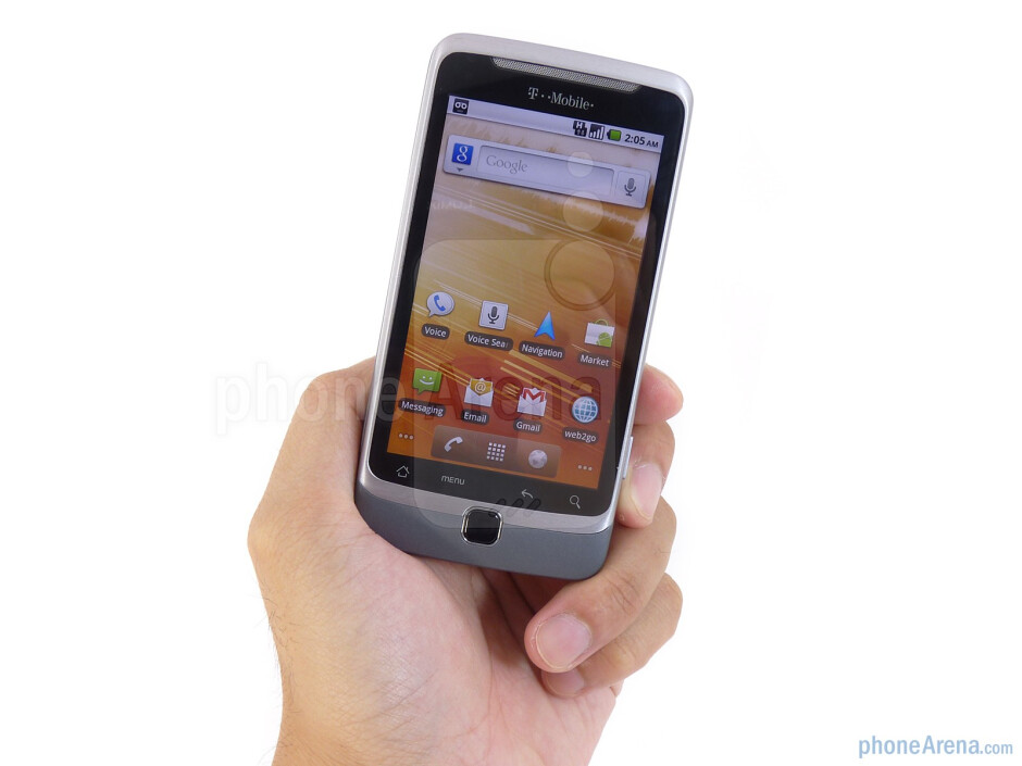 """The T-Mobile G2 doesn't feel overly bulky (0.56"""" thick) – but there is a noticeable heft (6.35 oz) to it - T-Mobile G2 Review"""