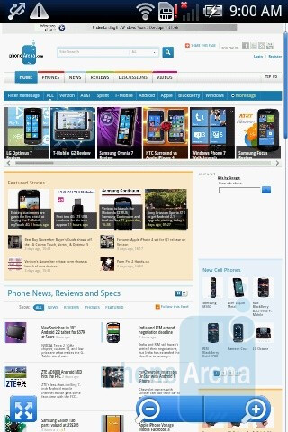 The internet browser lacks pinch-to-zoom or double-tap zooming - Sony Ericsson Xperia X8 Review