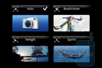 The camera interface is nicely personalized, but sports almost no options - Sony Ericsson Xperia X8 Review