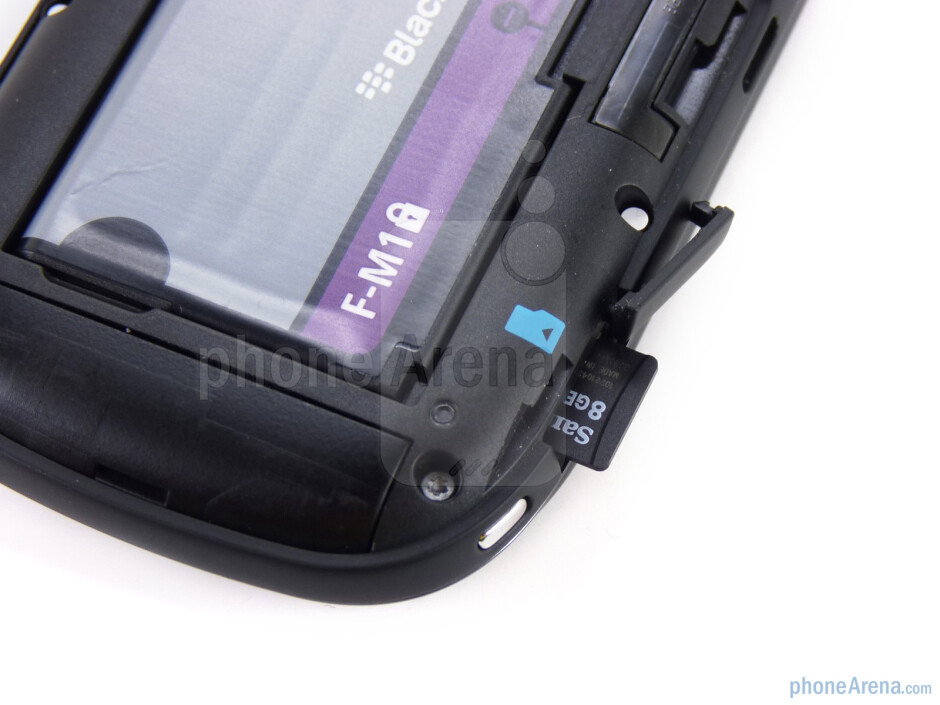 microSD slot on the left - The sides of the RIM BlackBerry Style - RIM BlackBerry Style Review