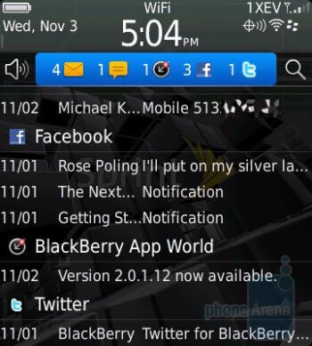 Notification area - RIM BlackBerry Style Review