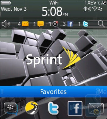 The homescreen of the RIM BlackBerry Style has a persistent bar of apps down at the bottom - RIM BlackBerry Style Review