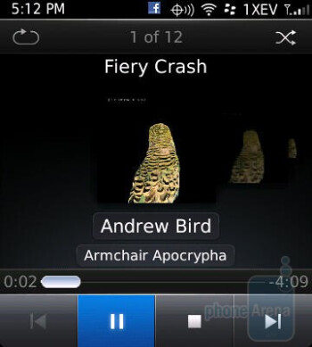 The music interface of the RIM BlackBerry Style - RIM BlackBerry Style Review