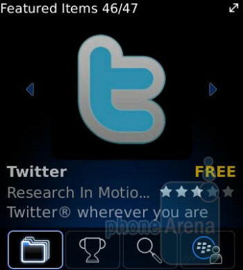 The preloaded Facebook and Twitter apps - RIM BlackBerry Pearl 3G Review