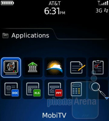 Applications menu - RIM BlackBerry Pearl 3G Review